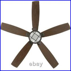 Hampton Bay Seaport 52 LED Indoor/Outdoor Natural Iron Ceiling Fan with Light