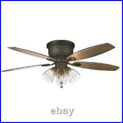Hampton Bay Stoneridge 52 in. Bronze Hugger LED Ceiling Fan with Light Kit