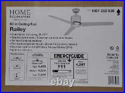 Home Decorators Collection Railey 60 in. LED Indoor Brushed Nickel Ceiling Fan
