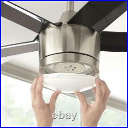 Home Decorators Merwry 52 in. Integrated LED Indoor Brushed Nickel Ceiling Fan