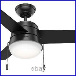 Hunter 36 Modern Ceiling Fan with LED Light in Matte Black, 3 Blade