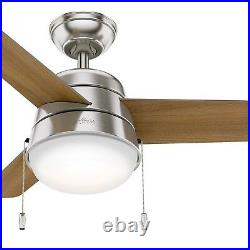 Hunter 36 inch Modern Brushed Nickel Finish Ceiling Fan with Light Kit, 3 Blades