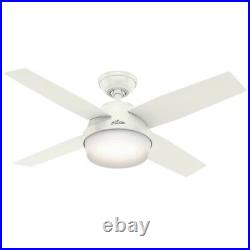 Hunter 44 Contemporary Fresh White Ceiling Fan with LED Light and Remote