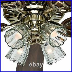 Hunter 52 Bright Brass Finish Ceiling Fan- Four-Light Fitter with Clear Glass