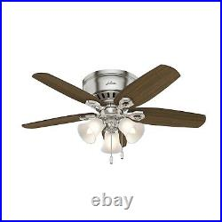 Hunter Fan 42 inch Low Profile Brushed Nickel Indoor Ceiling Fan w LED Light Kit
