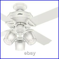Hunter Fan 44 inch Fresh White Indoor Ceiling Fan with Light and Remote Control
