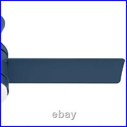 Hunter Fan 44 inch Low Profile Indigo Blue Indoor Ceiling Fan w Light and Remote