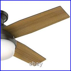 Hunter Fan 44 inch Low Profile Noble Bronze Ceiling Fan with Light and 4 Blades