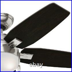 Hunter Fan 46 inch Low Profile Brushed Nickel Ceiling Fan w Light and Pull Chain