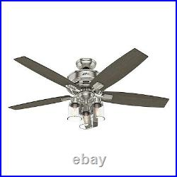 Hunter Fan 52 in. Brushed Nickel Ceiling Fan with 3 LED Lights and Remote