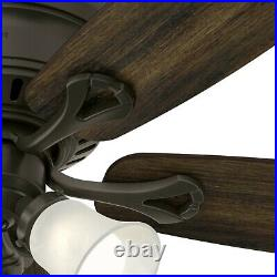Hunter Fan 52 in Casual New Bronze Indoor Ceiling Fan with Light and Pull Chain