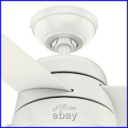 Hunter Fan 52 in Contemporary Fresh White Ceiling Fan with Light and Pull Chain