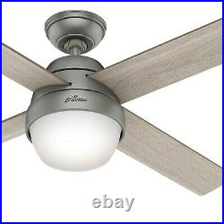 Hunter Fan 52 in Contemporary Matte Silver Indoor Ceiling Fan w Light and Remote
