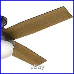 Hunter Fan 52 in Low Profile Noble Bronze Ceiling Fan with LED Light and Remote
