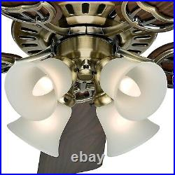 Hunter Fan 52 in Traditional Antique Brass Indoor Ceiling Fan with LED Light Kit