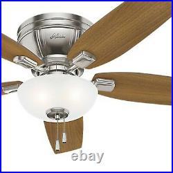 Hunter Fan 52 inch Low Profile Brushed Nickel Ceiling Fan w Light and Pull Chain