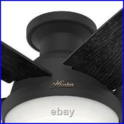 Hunter Fan 52 inch Low Profile Matte Black Indoor Ceiling Fan w Light and Remote