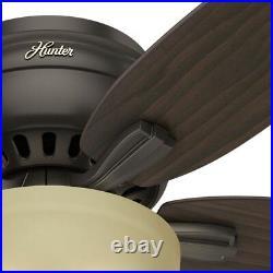 Hunter Fan 52 inch Low Profile Premier Bronze Ceiling Fan w Light and Pull Chain