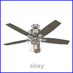 Hunter Fan 52 inch Traditional Brushed Nickel Ceiling Fan with Light and Remote