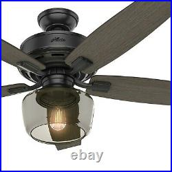 Hunter Fan 52 inch Traditional Matte Black Ceiling Fan with Remote Control