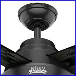 Hunter Fan 54 in Contemporary Matte Black Indoor Ceiling Fan w Light and Remote