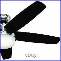 Hunter Fan 54 inch Brushed Nickel Ceiling Fan with LED Light Kit & Remote