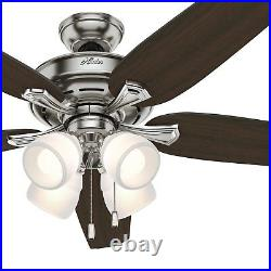 Hunter Fan 60 inch Brushed Nickel Indoor Ceiling Fan with Light and Pull Chain