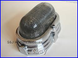 Industrial Wall Ceiling Light Bulkhead Antique Vintage Silver Aluminium Oval Old