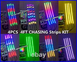 JHB 3FT/4FT/6.5FT DOUBLE ROW Chasing Flowing IP68 Bluetooth LED Strips Light SET