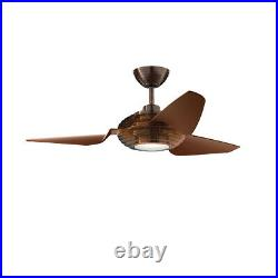 Kichler Voya 50 Ceiling Fan with LED Light and Wall Control, Oil Brushed Bronze