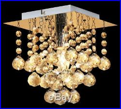 LED Crystal Droplet Chandelier Classic Elegant Ceiling Wall Light Fixtures