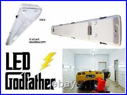 LED Light Ceiling Fixture Two T8 LED White. Garage Shop Flush Mount 5,720 lumen