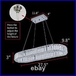 LED Oval Chandelier Lighting Pendant Light, Modern K9 Crystal Ceiling Lamp, Flush