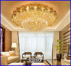 LED Remote Control K9 Crystal Gold Ceiling Light Chandeliers Lighting Lamps New
