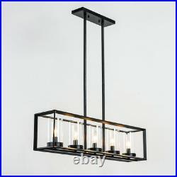 Large Chandelier Lighting Kitchen Lamp Black Ceiling Light Vintage Pendant Light