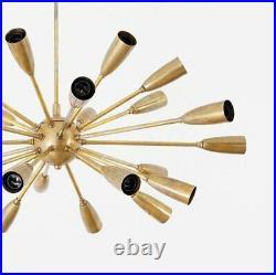 Mid Century Modern Stilnovo Brass Sputnik Chandelier Ceiling Lamp Light