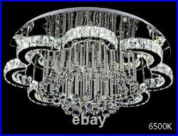 Modern Chandelier Crystal Glass Dimmable LED Ceiling Light With Remote Control