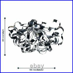 Modern Chrome 3 Light Flush Ceiling Fitting Ribbon Twist Designer Light Bedroom