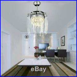 Modern Crystal Ceiling Fan Light LED Chandelier Remote Control Ceiling Light