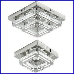 Modern Genuine K9 Crystal LED Flush Ceiling Light Fixture Lighting Chandelier