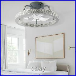 Modern Invisible Ceiling Fan Lamp Dimmable LED Light Remote Control Chandelier