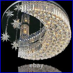 Modern K9 Crystal LED Moon Star Light Ceiling Lamp Chandelier Lighting