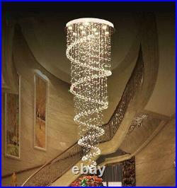 Modern Luxury Crystal LED Chandelier Pendant Lamp Rain Drop Spiral Ceiling Light