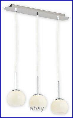 Modern Pendant 3 Ceiling Light GLASS Ball Lamp Chrome Mirror Kitchen Dining LED
