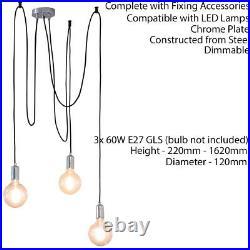 Multi Light Ceiling Pendant 3 Bulb Chrome SteelIndustrial Adjustable Hang Hook