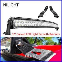 Nilight 52Inch 300W Curved LED Light Bar + 2PCS Bracket for GMC Off-Road pk 54