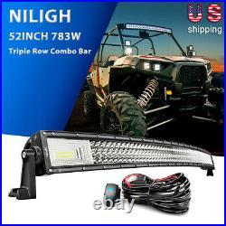 Nilight 52Inch 783W Curved LED Light Bar Car OffRoad Triple Row Flood Spot Combo