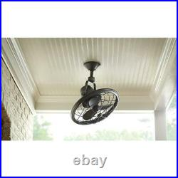 Oscillating Ceiling Fan 18 in. Wall Control Indoor Outdoor Tarnished Bronze NEW