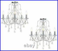 Pair of Luxury Chrome & Crystal 5 Light Ceiling Chandelier Lights Lounge BHS