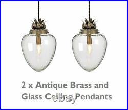 Pair of Vintage Glass Pineapple Design Ceiling Pendant Lights